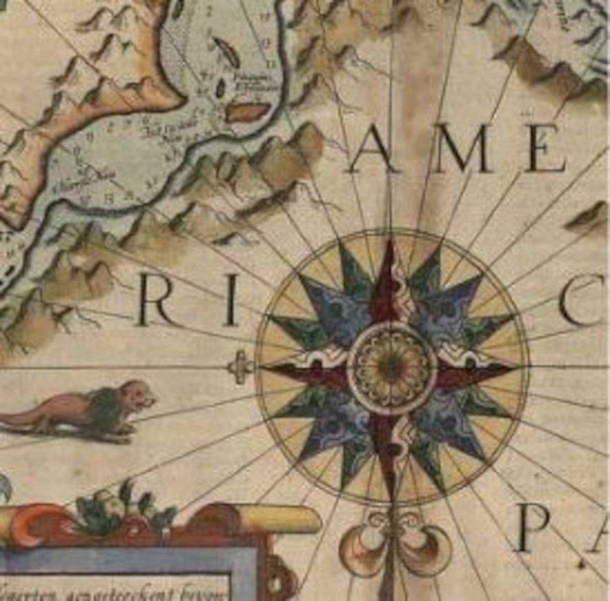 Partial image of a map with a focus on a compass, surrounded by the word 'America'