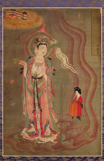 A 9th century silk painting showing a woman being led to Paradise