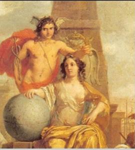 "Detail showing ""Allegory of Amsterdam Prosperity"" by Dutch painter, Gerard de Lairesse, 1665."