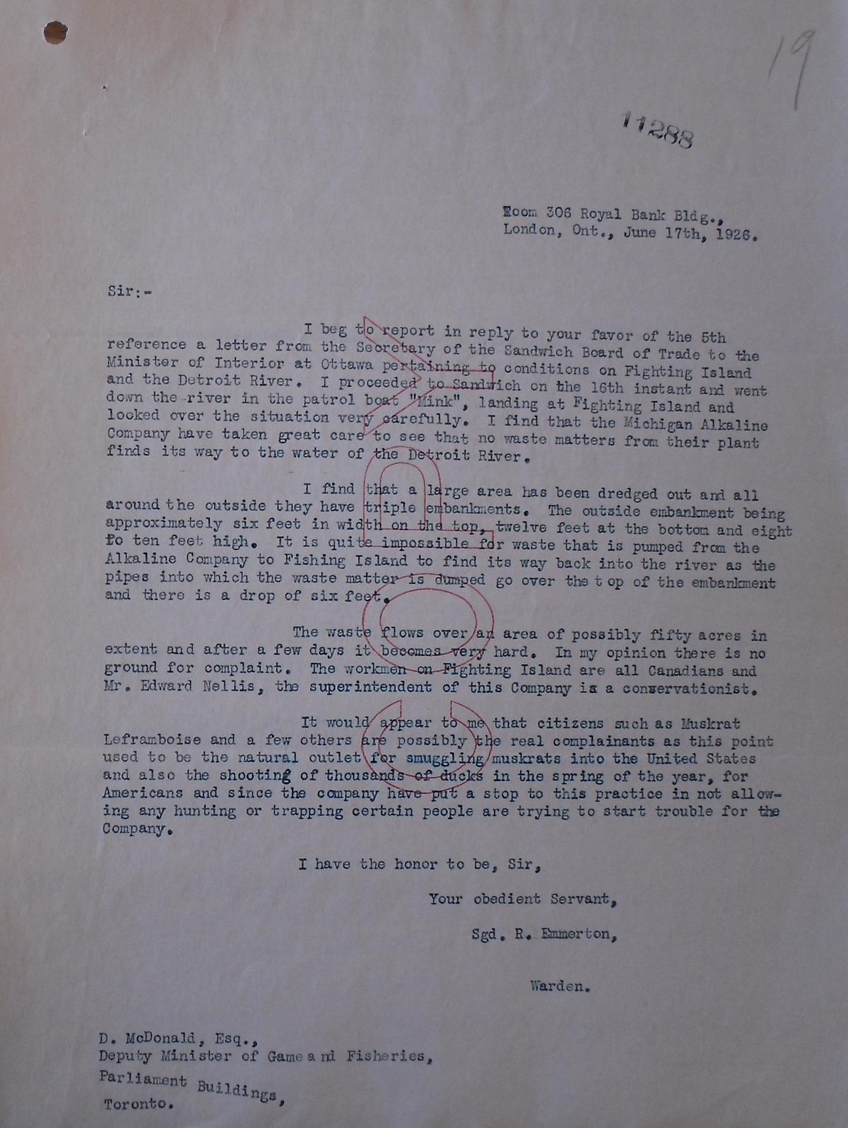 Image of Emmerton typed letter