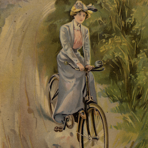 Thumbnail illustration of a woman riding a bicycle