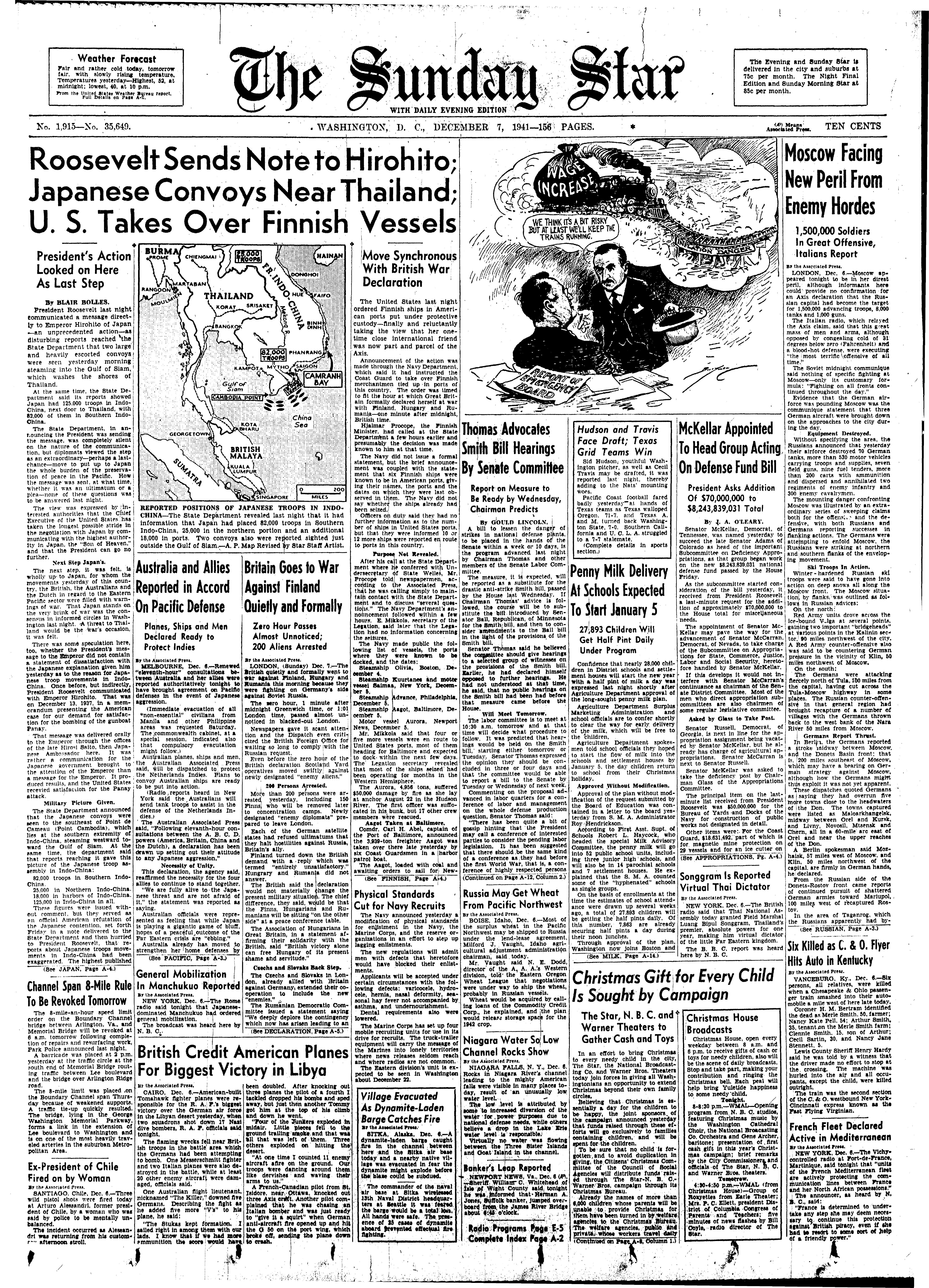 Washington, D.C. newspaper's front page on December 7, 1941