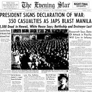 Washington, D.C. Newspaper reporting on December 8, 1941 the events of Pearl Harbor