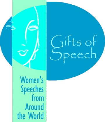 "Image of the Gifts of Speech homepage logo reading the project name ""Gifts of Speech: Women's Speeches from Around the World"""