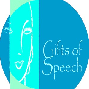"""Detail of the Gifts of Speech homepage logo reading """"Gifts of Speech"""""""