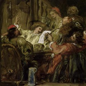 Painting of a group drinking around a table
