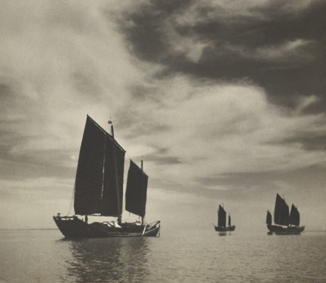 Fishing junks under sail off the Shandong coast