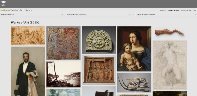 Screenshot of the home page of the Heilbrunn Timeline of Art History, Works of Art category