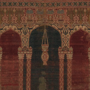 Image of a sixteenth-century Ottoman carpet showing a portion of the carpet's main design field that contains a triple arch design with slender double columns and a hanging lamp in the central archway