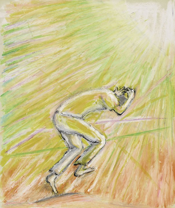 """A painting titled """"Moment of Tearing"""" by Ryuji Ishitani showing a person ducking in cover in a flash of light"""