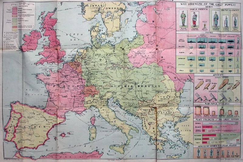 World War I era map of Europe