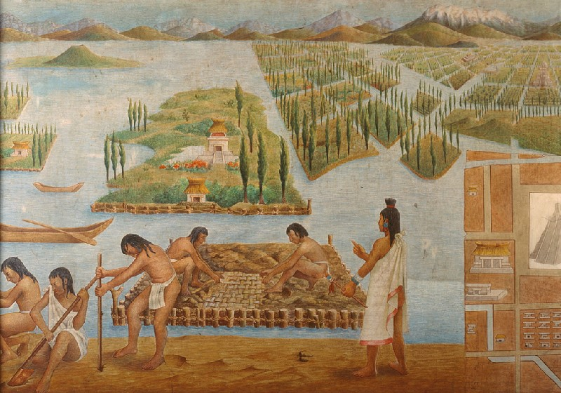 Detail of the Pilgrimage of the Nahuatlacas tribe.  It shows men and women farming by creating platforms of land in water.