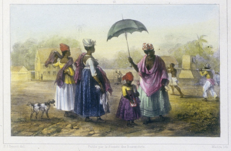 A painting of three women and a girl watching a patient being carried.