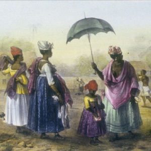 Thumbnail of a painting of three women and a girl watching a patient being carried.