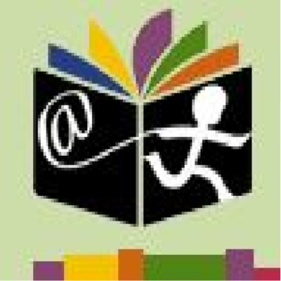 Logo of the International Children's Digital Library abstractly showing an open book with a children running across the cover