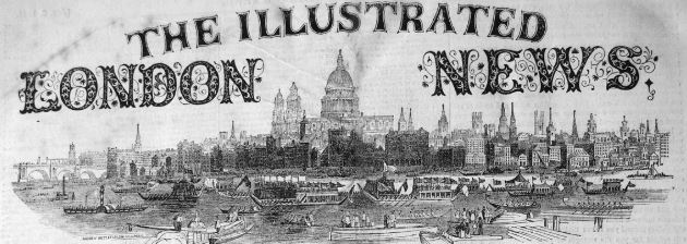 Header the Illustrated London News showing the paper title and a skyline image of London.