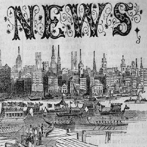 "Detail of the header for The Illustrated London News showing the word ""News"" over part of the London skyline"