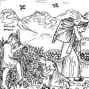 Drawing shows two people harvesting grain and and one carrying it away in bushels