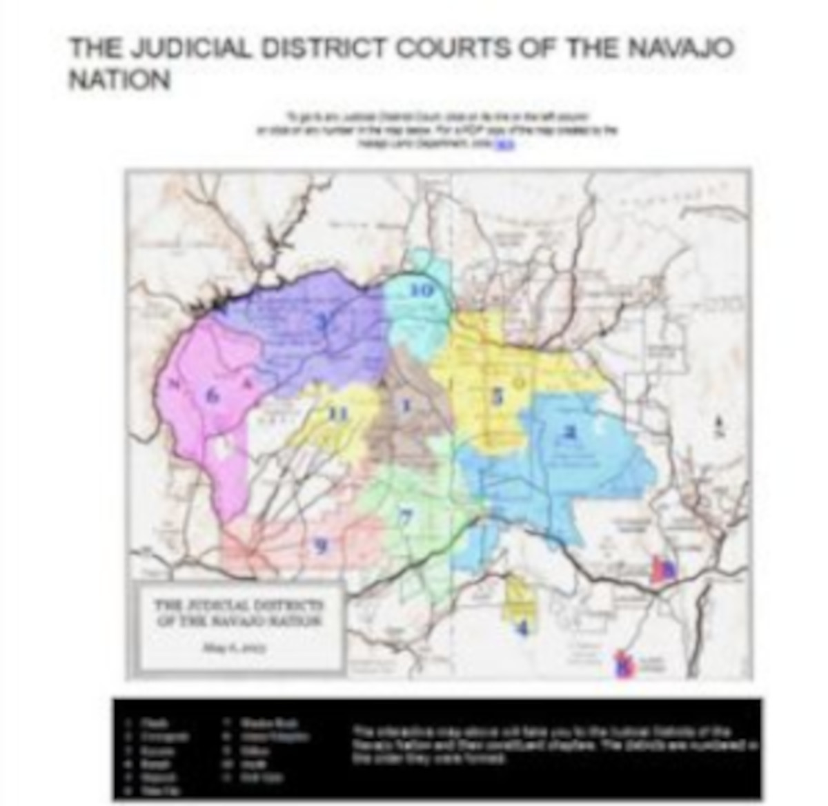 Screenshot of the map of the Navajo judicial district courts.