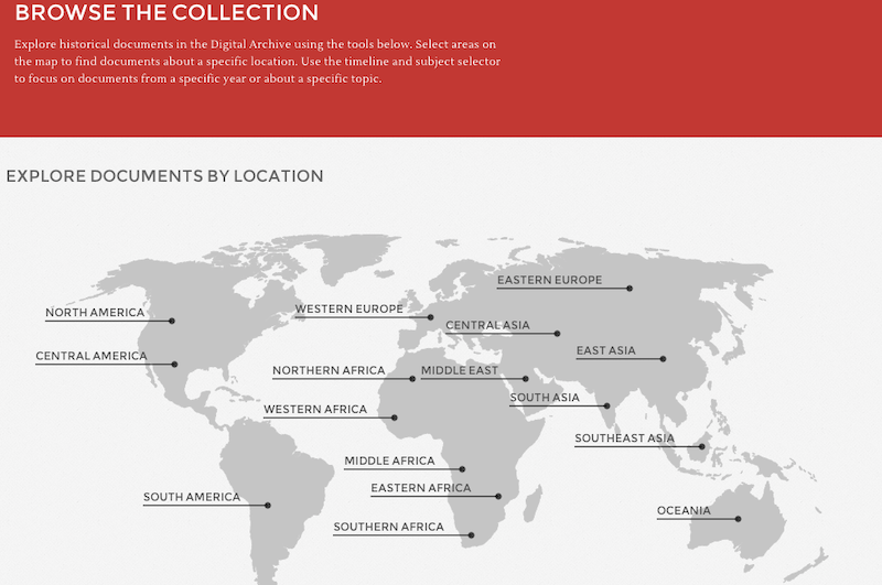 Image of the 'Browse' section of the website, featuring a map of the world and links to various regions
