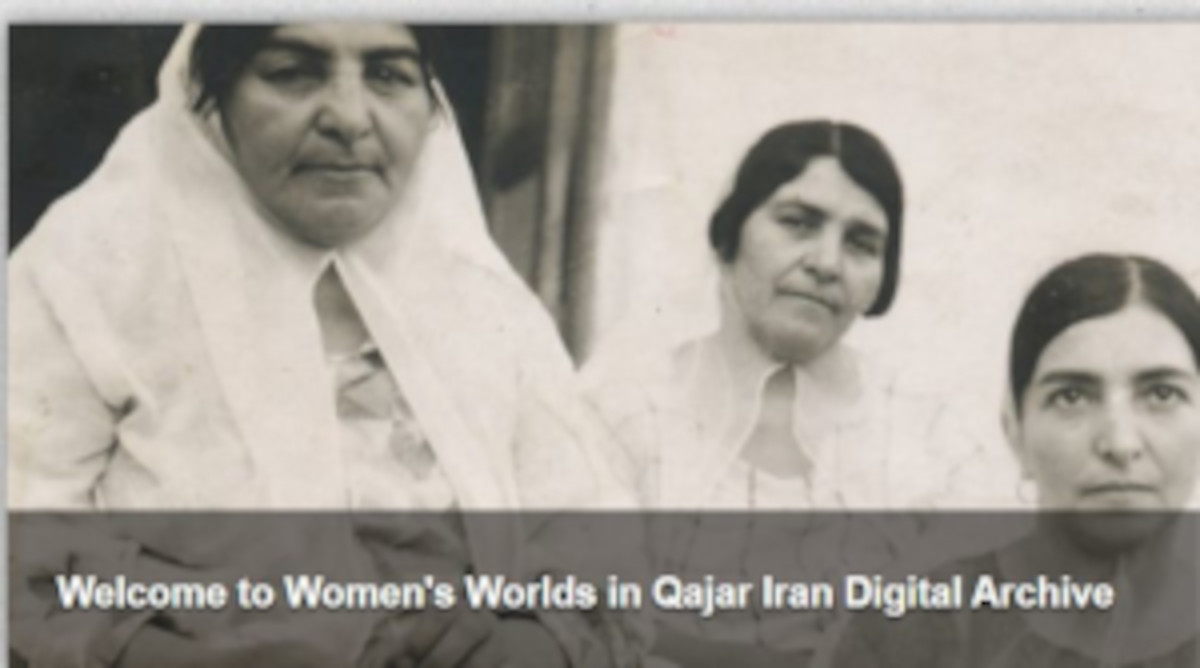 Black and white photograph of three women dressed in white and looking at the camera. The image is captioned Welcome to Women's Worlds in Qajar Iran Digital Archive