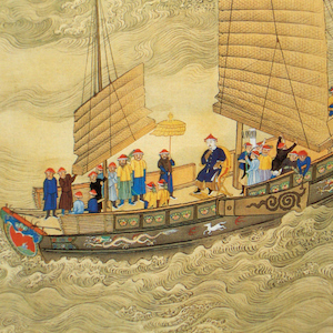 Painting of a Chinese junk at sea with the emperor and several functionaries on deck