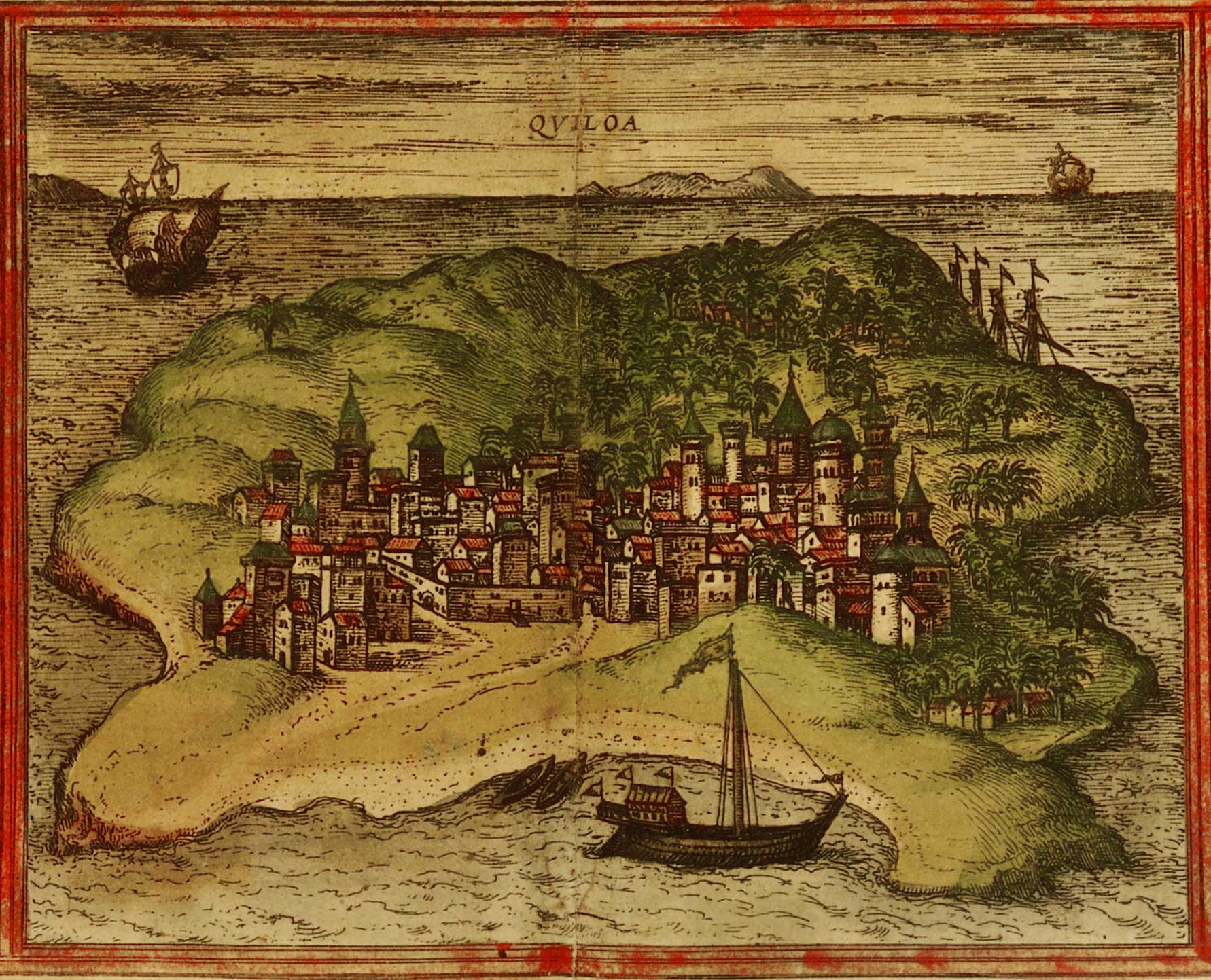 Illustration shows an island with a collection of buildings in the center