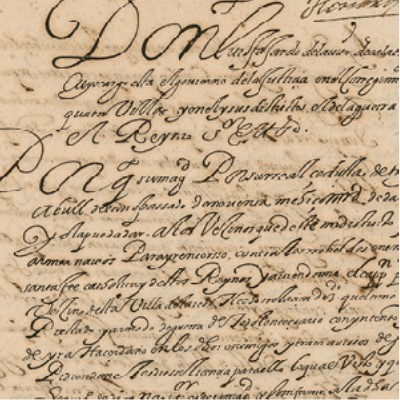 Detail: 1592 letter to Don Pedro Verastigui