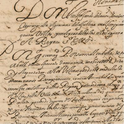 Detail: 1592 letter to Don Pedro Verastigui