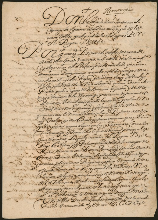 Image of a 1592 letter to Don Pedro Verastigui