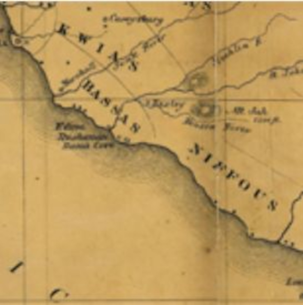 Map of the coast of Liberia, with a relief shown by hachures. It shows boundary of tribes, mission stations, colonist towns, and native towns.