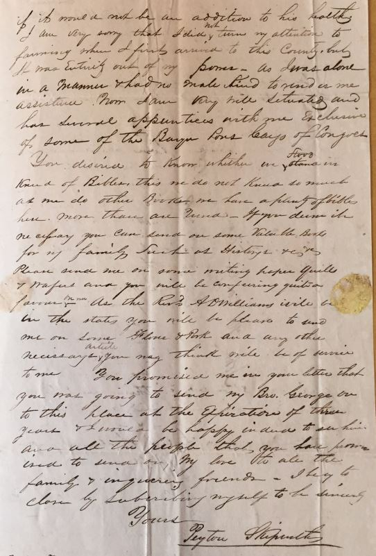 Image of a letter from the collection