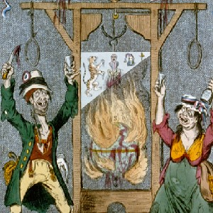 """The Radical's Arms"" a political cartoon criticizing French Revolutionaries for the reign of terror by depicting two peasants with a guillotine before a burning globe"