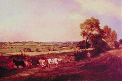 Painting of a man and his cows in the countryside
