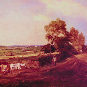 Painting thumbnail of a man and his cows in the countryside