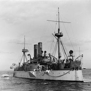 Photo of a battleship at sea