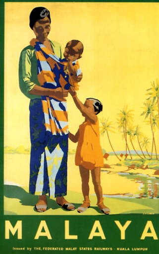 Poster of a Malay child and woman holding a baby created by the Federated Malay States Railways