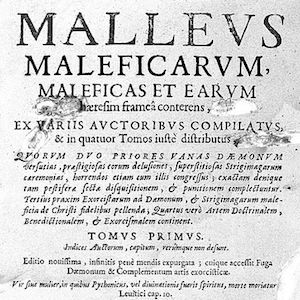 Title page of witch hunter manual, Malleus Maleficarum