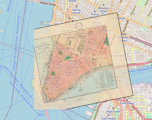 Example from MapWarper showing a New York map overlaid on a GoogleMap of Manhattan
