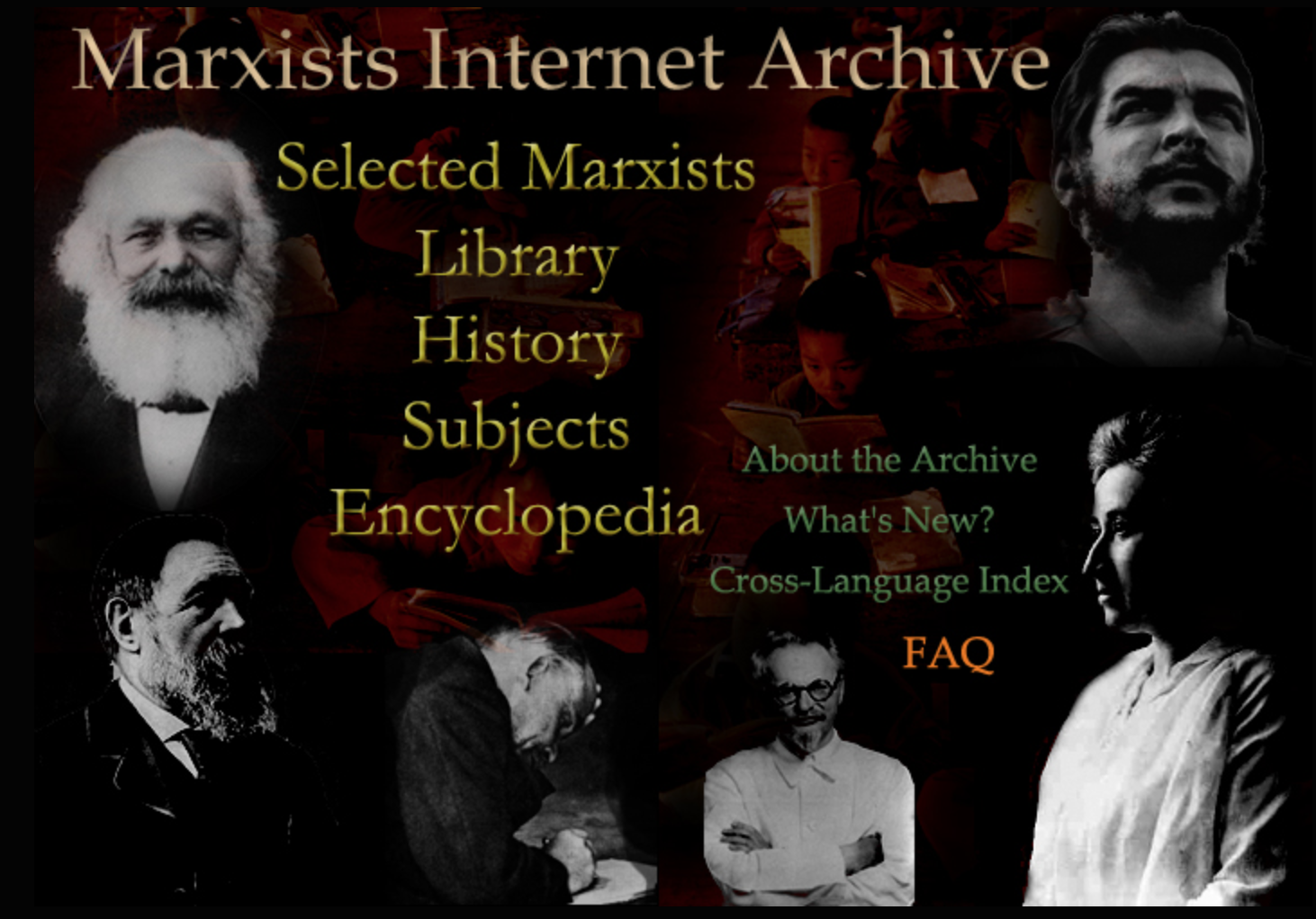 Homepage of Marxist Archive shows images of Karl Marx and other Marxists with a menu