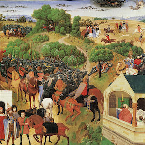 Painting of a crowded medieval scene centering on a battle