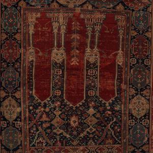 Close-up image of an early modern Ottoman sajjadah rug