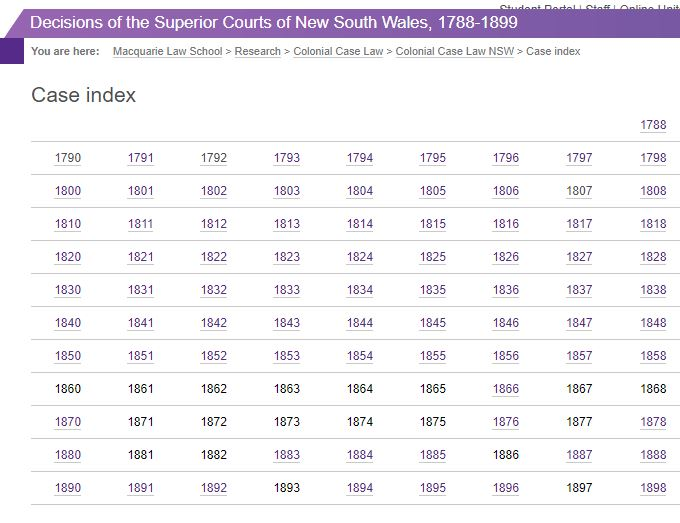 Screenshot of the Decisions of the Superior Courts of New South Wales case index showing the years with records available