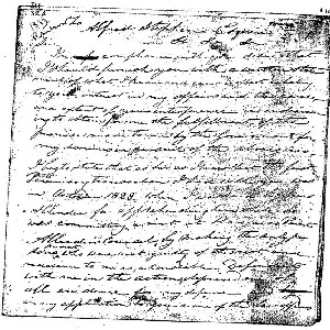 Image of Robertsons Statement re Aboirigines to Alfred Stephen, 1833.  It is Document 32A under Original Documents on Aborigines and Law, 1797-1840