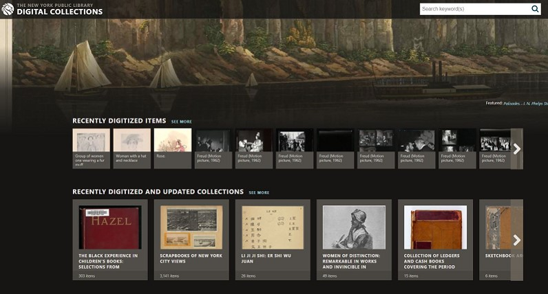 Screenshot of the New York Public Library Digital Collections website
