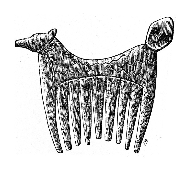 A Stone Age comb with a horse head carved into the handle