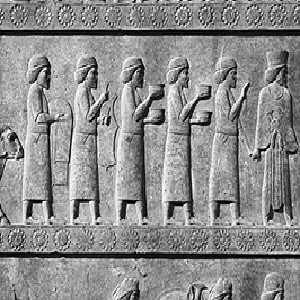 Persepolis - Apadana of Darius (ca. 520 B.C.) - Detail of the middle register of the left side of the eastern stairway, showing foreigners bringing tribute.
