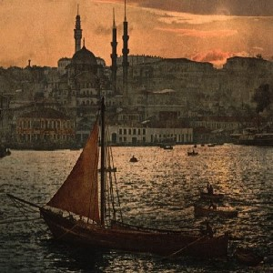 Painting of a ship with a mosque in the background