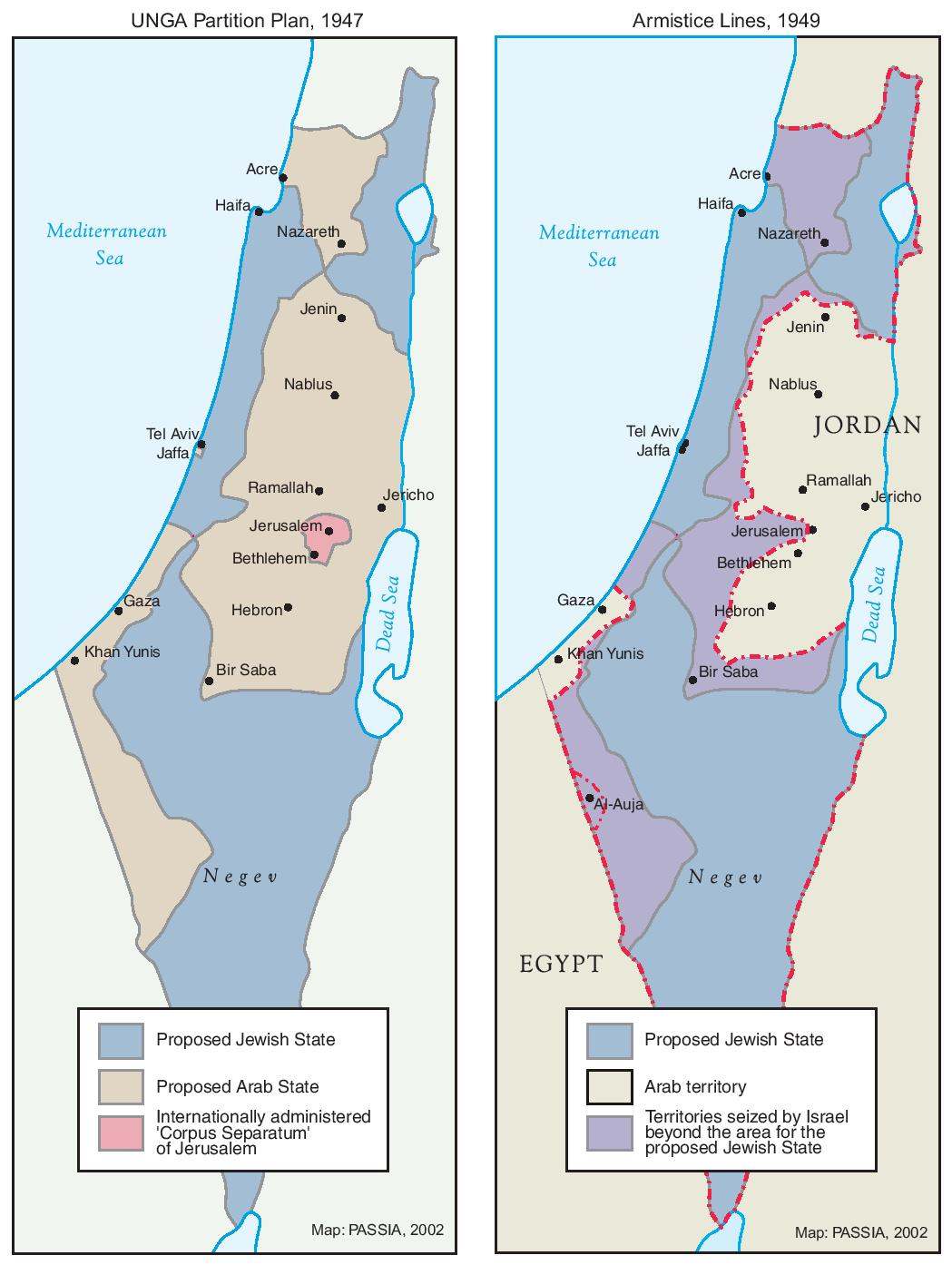 Map of the Partition and Armistice of Israel and Palestine
