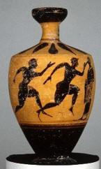 Image of a Greek vase showing two men running